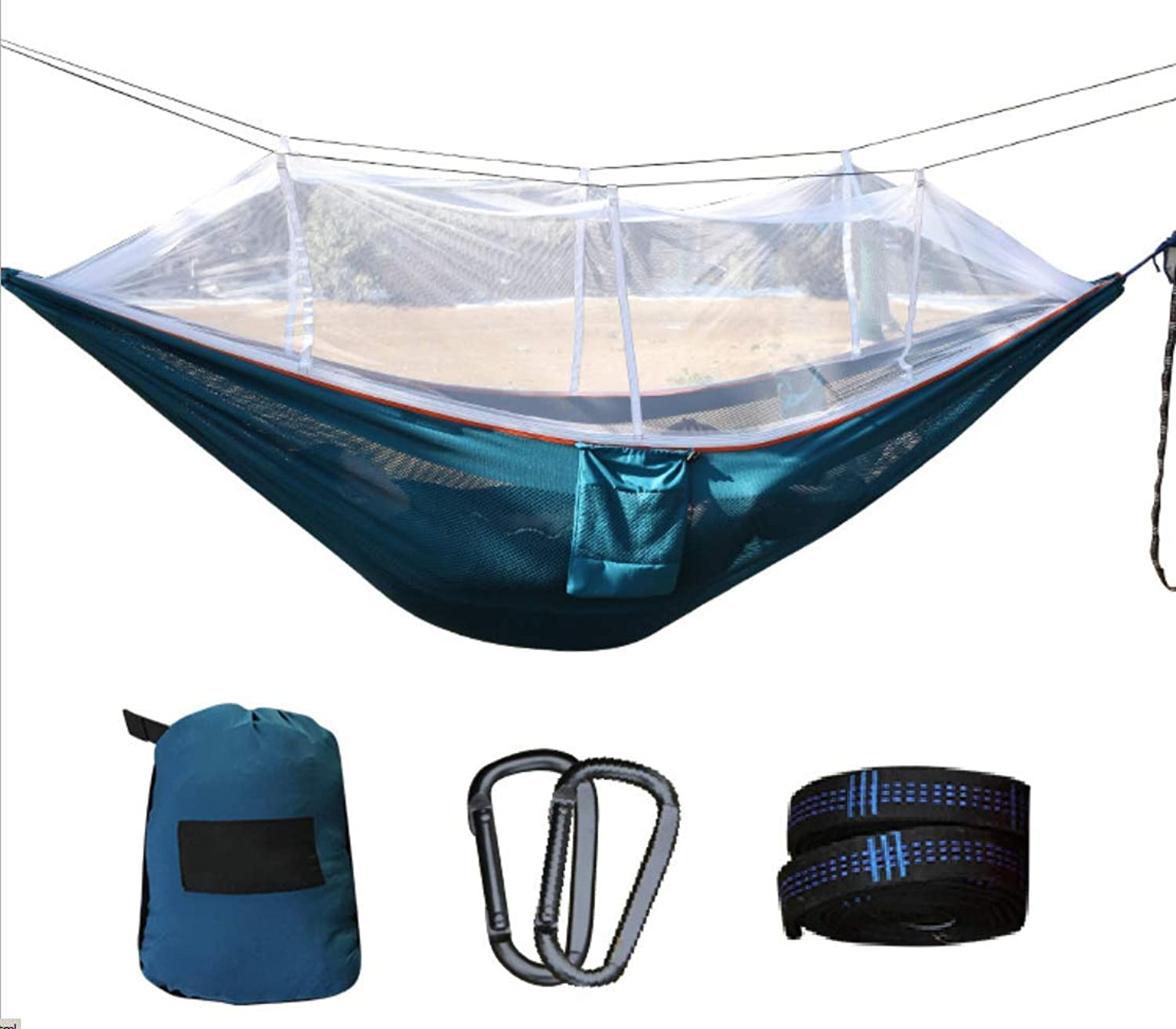 Camping Hammock with Mosquito Net  300kg Load Capacity Breathable QuickDrying Parachute Nylon, for Outdoor Hiking Backpacking Traveling (Green)
