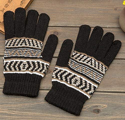 2018 New Autumn Winter Warm Men Gloves Mittens Brand Fashion Knitted Cycling Handschoenen Long 22cm - (Color: Black)