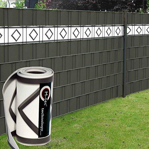 Design Sichtschutzstreifen/PVC / 19cm x 2,85m (HxL) ✔ Motiv Hamburg Deko ✔ weiß-anthrazit ✔ 3 Streifen ✔ - SIE KAUFEN Hier DIREKT BEIM Hersteller -