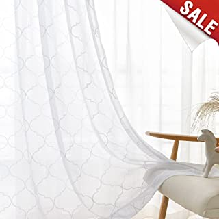 jinchan White Sheer Curtains for Living Room Moroccan Tile Embroidered Window Curtains Lattice Geometric Quatrefoil Embroidery Semi Sheer Curtains for Bedroom 2 Panels 55 x 84 Inch