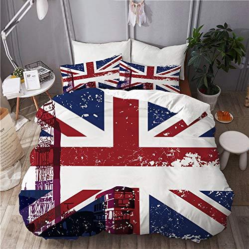 Juego de Ropa de Cama Microfibra,Símbolos de Londres, Inglaterra, Reino Unido, cabina telefónica roja Big Ben y la bandera nacional Union Jack,1 Funda Nórdica y 2 Funda de Almohada (Cama 200x200 )