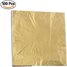 Langcal 100 Sheets Imitation Gold Leaf for Arts,Gilding Crafting,Decoration,5.5 by 5.5 Inches (100, Gold)