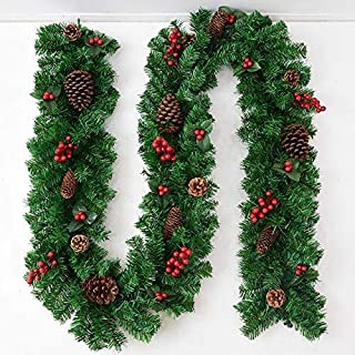 skyfiree Christmas Garland 9 Foot for Stairs Christmas Decoration Artificial with Red Berries Pine Cones Green Christmas G...