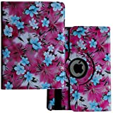iPad Air 1 /6th /5th Generation Case, Lingsor 2018 2017 iPad 9.7 Rotating Stand Smart Case Magnetic Cover for A1954 A1893 A1823 A1822 A1476 A1475 A1474 MPGT2LL/A MPGW2LL/A MR7F2LL/A, Blue Pink Flower