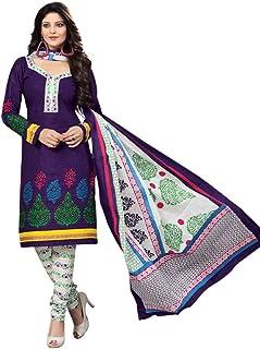 c914a3f0a0 Dfolks Women's Cotton Unstitched Dress Material (DF0229, Blue, Free Size)