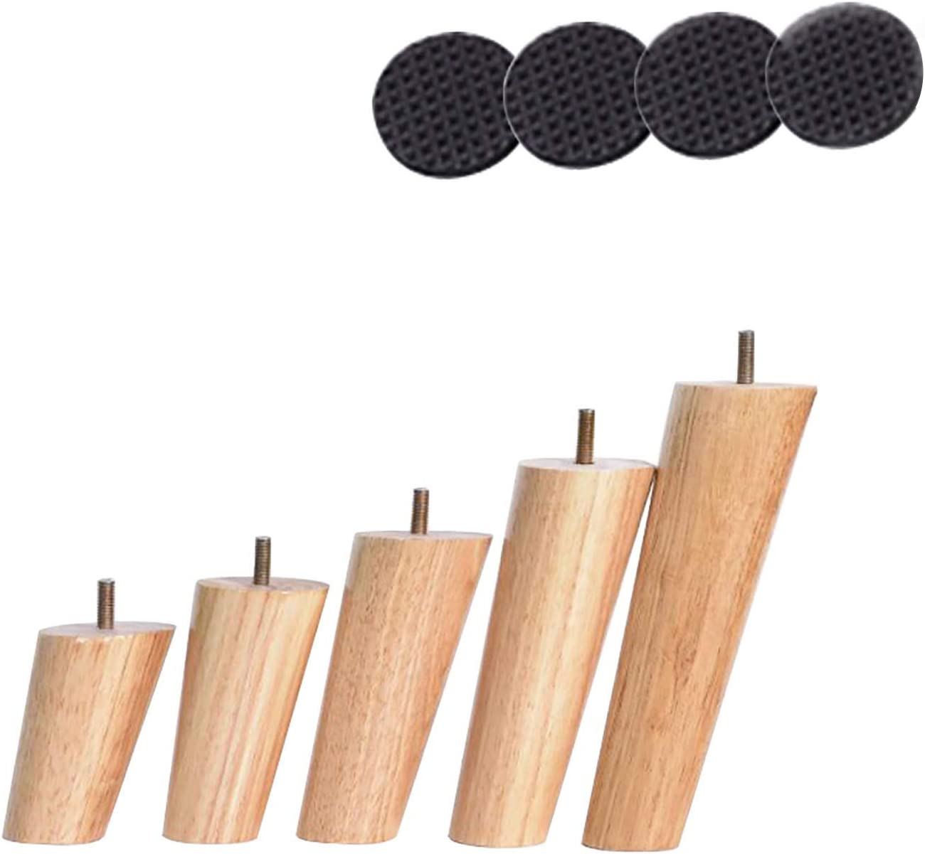 JPENG Free Shipping Cheap Bargain Gift 8cm Max 51% OFF SofaLegsTapered M10 ReplacementWoodLegs MidCentur