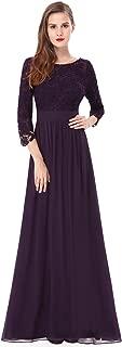 Women's Lace Long Sleeve Floor Length Evening Dress 08412