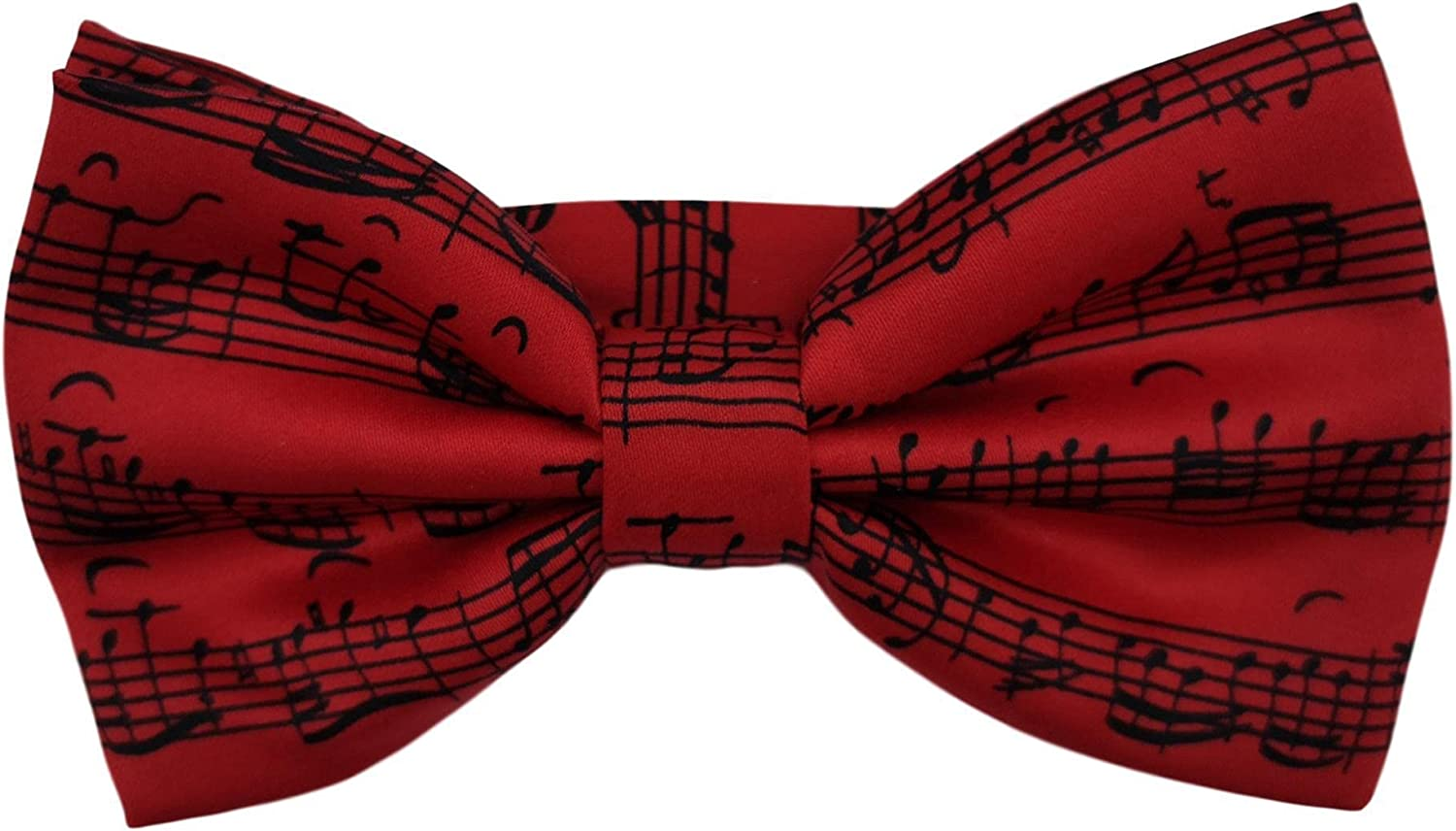 Music Stave Red Fancy Polyester Bow Tie