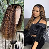 Ombre Highlight Color Lace Front Human Hair Wigs with Baby Hair 13x4 Pre-Plucked Hairline Remy Brazilian Wavy Hair Glueless Bleached Knots 180% Density 18 Inch