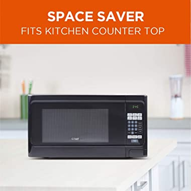 Countertop 1.1 Cubic Feet Microwave Oven, 1000 Watt, Black Front with Black Cabinet, Commercial Chef CHCM11100B