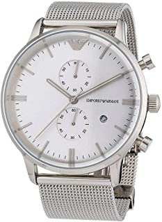 Emporio Armani Men's Silver Dial Stainless Steel Band Watch - Ar0390, Analog Display