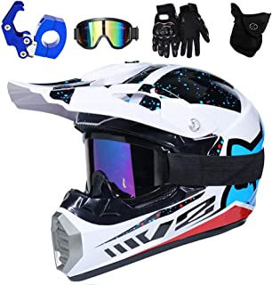Adult Full Face Motorradhelm Set mit Brille//Handschuhe//Maske CHUDAN Mopedhelm Motocross Helm Herren f/ür M/änner//Frauen Enduro Off-Road ATV MTB BMX Motorcrosshelm Quad Motoradhelm