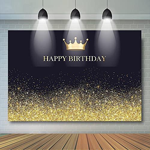 Fondo de fotos de fondo de feliz cumpleaños oro y negro plata y negro fiesta de cumpleaños decoración para niños y adultos - 3 x 2 m