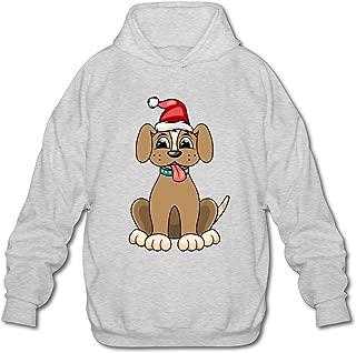MPIQW Boy Christmas Dog Portrait Red Santa Hat Hoodie Athletic Pullover Sweatshirt