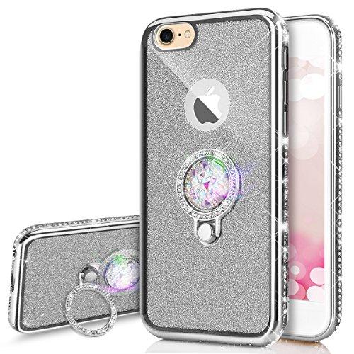 Kompatibel mit iPhone 6S / 6 Hülle,JAWSEU [Ring Ständer Halter] Glänzend Glitzer Kristall Strass TPU Silikon Hülle Bumper Case Rückseite Handyhülle Tasche Etui Schutzhülle für iPhone 6/6S,Silber