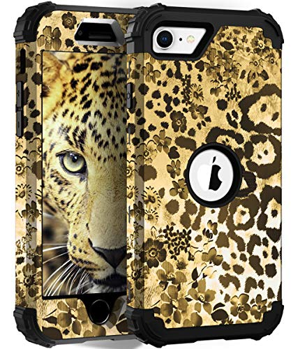 Hocase iPhone SE 2020 Case, Heavy Duty Shockproof Protection Hard Plastic+Silicone Rubber Hybrid Protective Case for iPhone SE 2nd Generation (4.7-inch Display) 2020 - Leopard