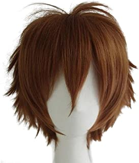 Short Fluffy Anime Wigs for Women Men 21 colors Spiky Unisex Comic Wigs with Oblique Bangs for Halloween Cosplay Costume Party with Free Wig Cap Light Brown