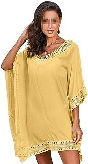 Lumeng Cubierta de Playa para Mujer Traje de baño para Mujer Cubierta de Gran tamaño Encaje de Crochet Traje de baño Playa Cubrir (Color : Amarillo, tamaño : Un tamaño)