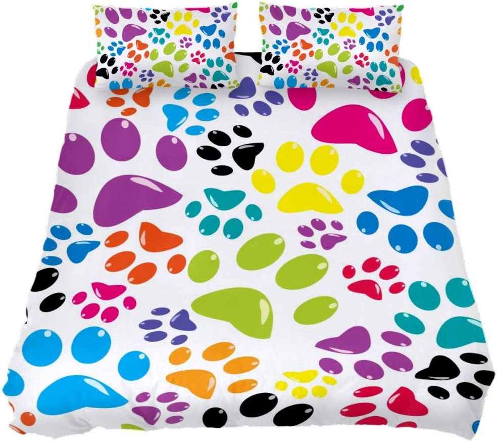 Shiiny In a outlet popularity Coverlet Set Colored Paws Seamless Pattern 3 Bed Se Piece