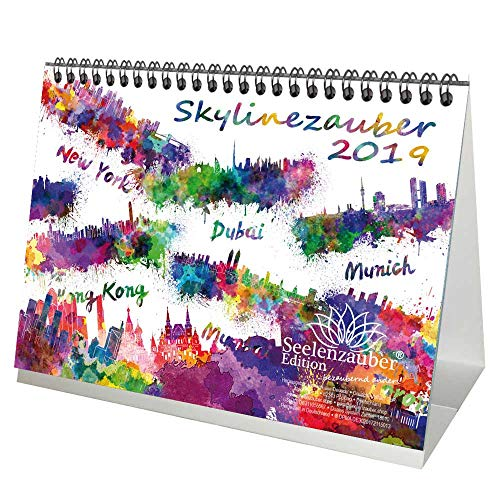 Skylinemagie · DIN A5 · Premium tafelkalender/kalender 2019 · Europa · Skyline · stad · Grootstad · kunst · schilderij · aquarel · set 1 wenskaart & 1 kerstkaart · Edition Seelenzauber