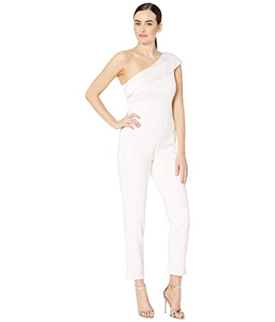 Adrianna Papell One-Shoulder Knit Crepe Jumpsuit w/ Stretch Charmeuse Neckline (Ivory) Women