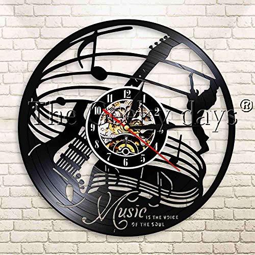 French night light 1 pieza de música es el sonido del alma disco de vinilo reloj de pared guitarra eléctrica instrumento guitarrista moderno reloj de pared solo base de lámpara de mesa