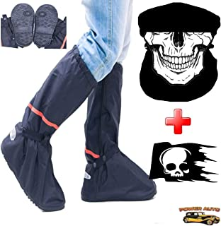 Motorcycle Boot Covers - Outdoor Protective Riding Rain Suit Gear Waterproof Weatherproof - Full Shoe Slip Over - Rainstorm Rainy Days Plus Skull Decal and Skeleton Riding Face Mask (L)