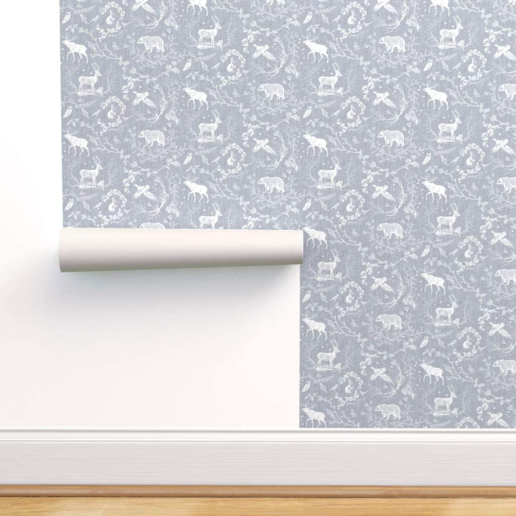 Spoonflower Peel 初回限定 and Stick Removable 買収 Woodland Wallpaper Moose T