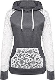 2019 Women's Hoodies,Lace Patchwork Sweatshirt Pullover Hoodie Outerwear Coat Tops by-NEWONESUN