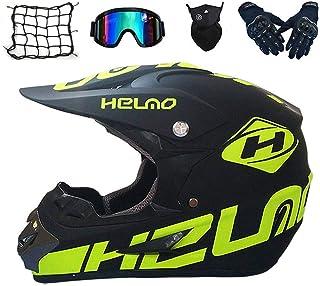 Motocross Helm Set mit Brille Handschuhe Maske Motorrad Netz, Kinder Crosshelm D.O.T Standard Kinder Quad Bike ATV Go-Kart-Helm M