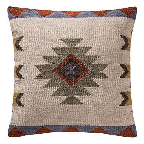 Indian Arts Sakala Stone Handgewebter Kelim-Kissenbezug, baumwolle Polyester Wolle, weiß, 45 x 45 Centimeters