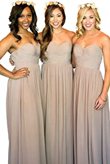JONLYC A-Line Sweetheart Pleated Chiffon Long Bridesmaid Dresses Wedding Party Gowns