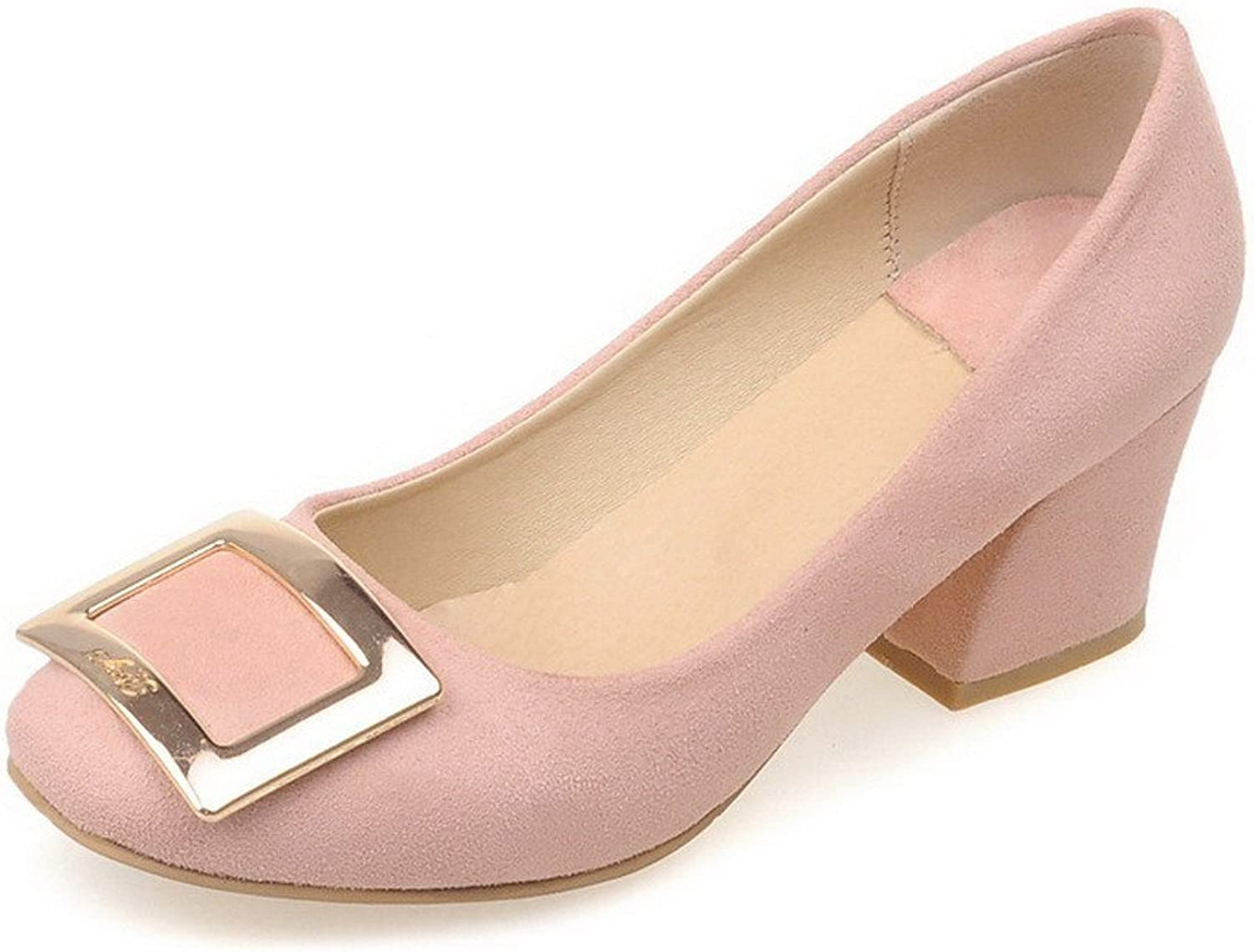 WeenFashion Women's Imitated Suede Kitten-Heels Square Closed Toe Solid Pull-on Pumps-shoes