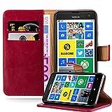 Cadorabo Hülle für Nokia Lumia 625 - Hülle in Wein ROT – Handyhülle im Luxury Design mit Kartenfach & Standfunktion - Hülle Cover Schutzhülle Etui Tasche Book