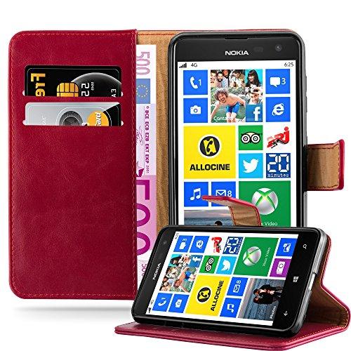 Cadorabo Hülle für Nokia Lumia 625 in Wein ROT – Handyhülle mit Magnetverschluss, Standfunktion & Kartenfach – Hülle Cover Schutzhülle Etui Tasche Book Klapp Style