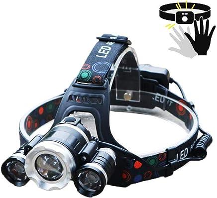 YEXIN Induktionsscheinwerfer Hellste Scheinwerferlampe mit 2 leistungsstarken wiederaufladbaren Batterien, LED-Blendung T6 USB-Ladezoom Zoom DREI Lampenkopf für Outdoor & Indoor B07PGTWH7Q     | Trendy