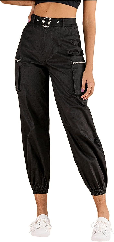 FNJJLU Women Cargo Atlanta Mall Pants High Waist Loose Trousers Sale SALE% OFF S Solid Color