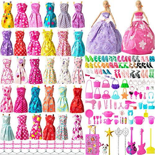 SOTOGO 200 Pieces Doll Clothes and Accessories for 115 Inch Girl Doll Different Occasions Include 32 Sets Handmade Doll Grown Outfits Fashion Party Dresses and 168 Pieces Different Doll Accessories