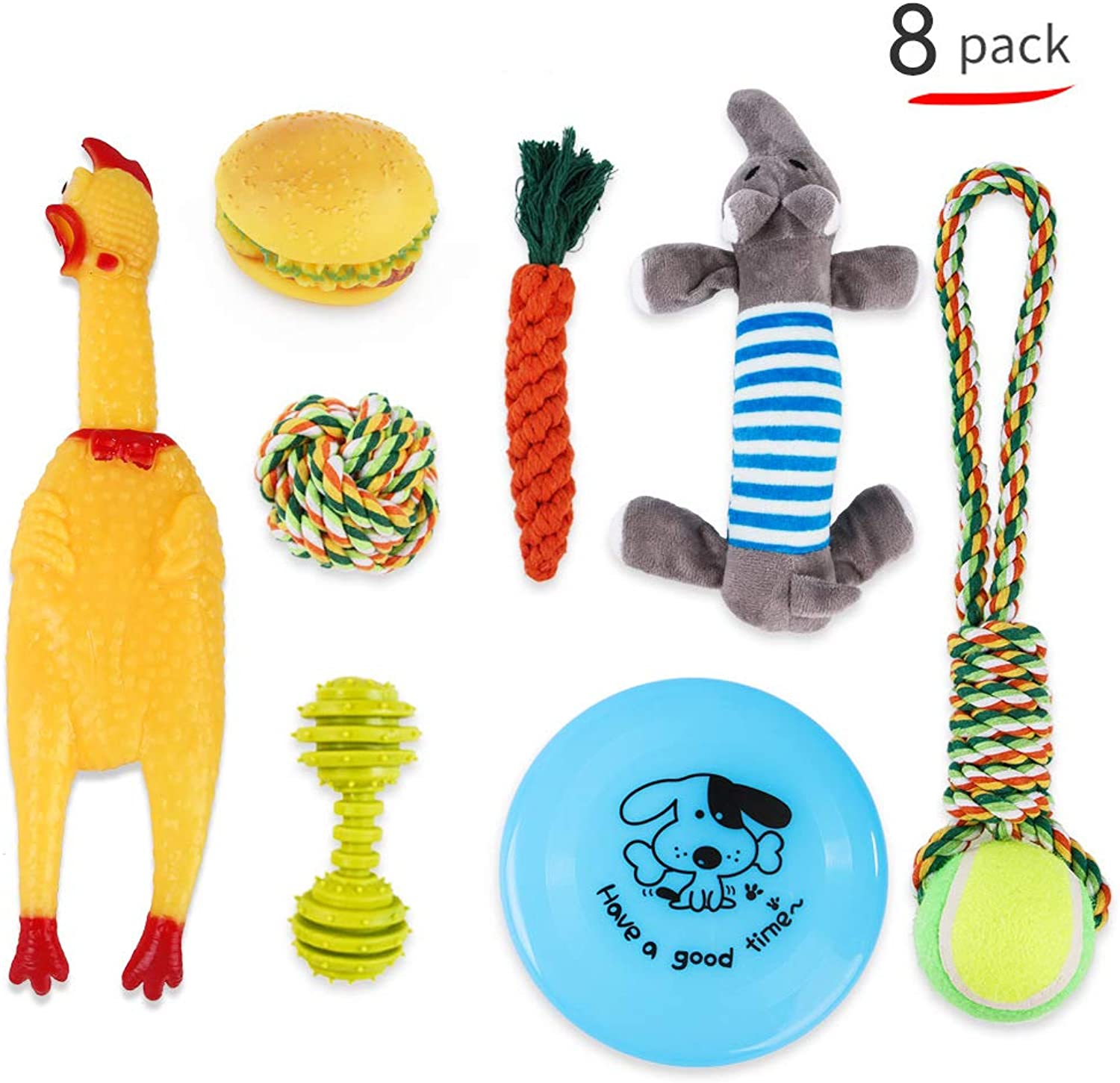 Dog Toys Chewing Toys Dog Chewing Toys Stress Divergence Muzzles eliminated Clean toothpastes Durable Durability Suitable for Small Dogs and Medium Size Dogs (8 Sets)