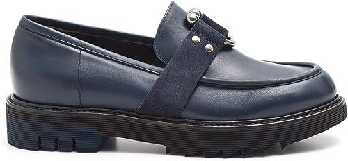 LAURA BELLARIVA BELLARIVA BELLARIVA - Mocassins in bleu Leather with Metal Piercing - 2053B 709VIT bleu a9c