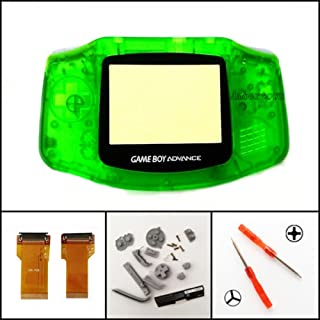 Full Housing Shell Case Cover Flex Cable Adapter for Nintendo Game Boy Advance GBA AGS 001 Mod Kit Replacement Clear Green
