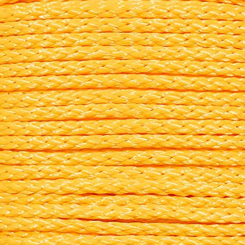 Hollow Braid Polypropylene Rope (3/8 Inch, 500 Feet, Yellow) - Barrier Rope - Trail Marking, Crowd Control, Golf Courses