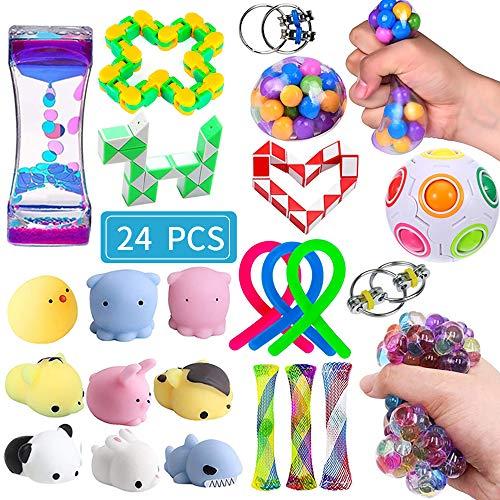 Sensory Fidget Spielzeug-Set, 24 Stück, Stressabbau und Anti-Angst, Handspielzeug für Kinder und Erwachsene, beruhigendes Spielzeug mit Fidget Ball, Marmor und Netz, sensorisches Spielzeug, perfekt für Kinder mit ADHS, Autismus