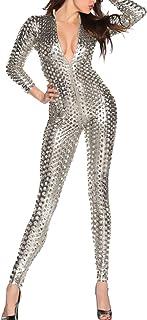 Women`s Sexy Hollow Cat Suit One Piece Metallic Sexy Skinny Clubwear Costume