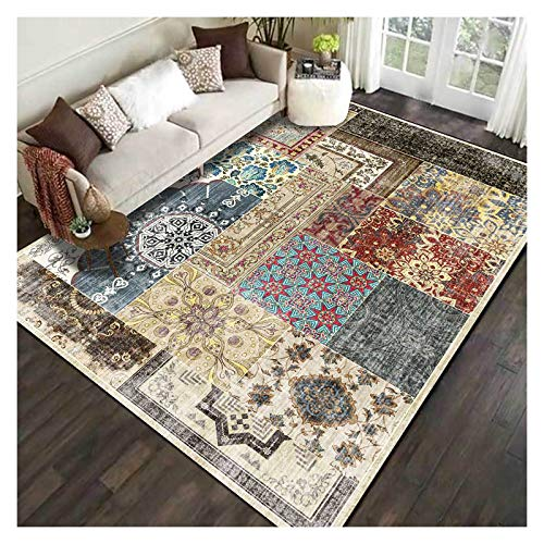 GJCC Carpets Geometric Floral Patchwork Area Rugs for Living Room, Soft and Cozy Carpet for Bedroom Dining Room Kids Room Home Decor Floor Mat,2.5' x 9'