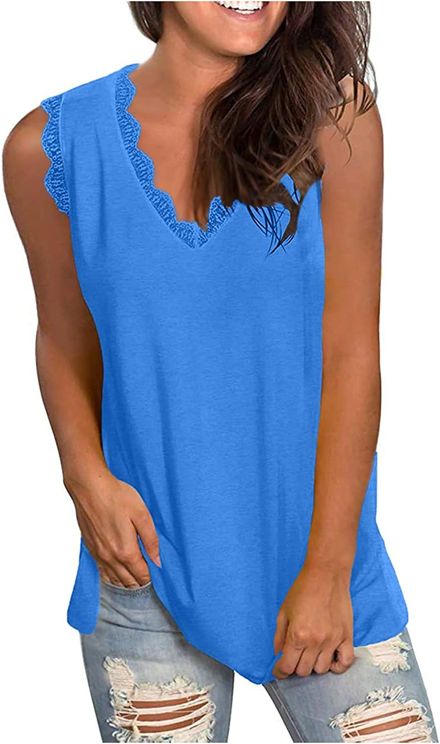 Womens Summer Tops Women's Casual Lace V-Neck Solid Sleeveness Tops Loose Vest Blouses Juniors Girls