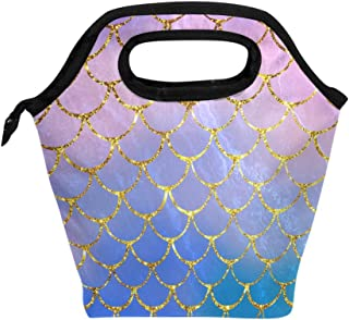 ZOEO Neoprene Lunch Bag Purple Mermaid Scales Marble Fish Light Summer Gold Washable Lunch box Insulated Waterproof Cooler Tote Handbags with Zipper for Outdoor Travel Picnic School Office