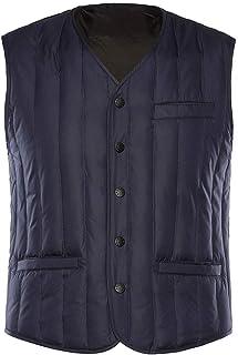 タンクトップ ベストベストベスト秋と冬の厚手のメンズカップルジャケットベストベストショートセクションダウンベストホームシャツ中年 (Color : Blue, Size : XL)