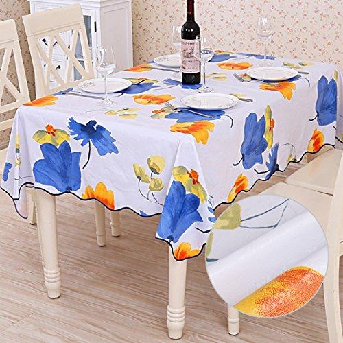 Nappe toile rectangulaire Nappe de table tissu imperméable plastique souple Nappe en Toile Cirée PVC Couvertures de table pour dîner Fête Picnic Cuisine Décoration intérieure (137x183cm) Tulipe