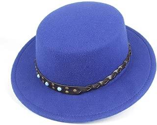 SGJFZD Men's Women's Flat Top Hat Wide Brim Chuch Hat Party Chuch Hat Fascinator Hat Size 56-58CM (Color : Blue, Size : 56-58)